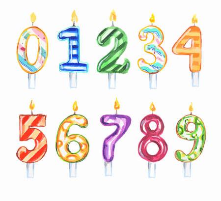 Akwarela urodzin? Wieczki ustawiony. Zestaw liczb. Kolorowe dekoracje na urodziny, tort rocznicowy.