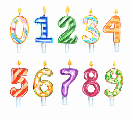 lit: Watercolor birthday candles set. Numbers set. Colorful decoration for birthday, anniversary cake.