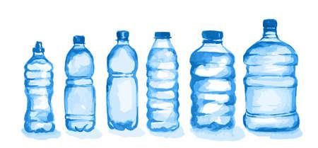 Watercolor plastic bottles set. Blue bottles with waterstanding on white background. Fresh healthy beverage. Ilustração