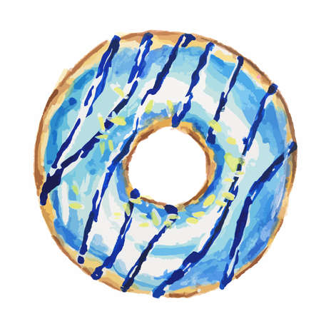 american dessert: Watercolor blue donut on white background. Isolated donut glazed with blue. American dessert.