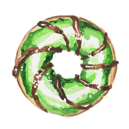 american dessert: Watercolor green donut on white background. Isolated donut glazed with green. American dessert. Illustration