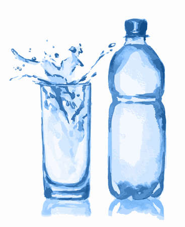 soda splash: Watercolor water bottle and glass. Water splash. Fresh healthy beverage. White background. Illustration