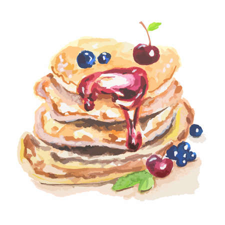 Watercolor stack of pancakes. Pancakes with berries and jam. Traditional american dessert. Tasty breakfast snack.