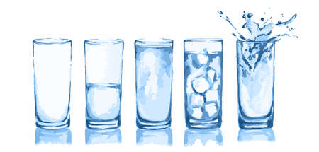 half full: Watercolor glasses set. Glasses of water. Empty glass, half full, full, with ice cubes and splash. Fresh healthy beverage.