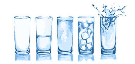 occhiali dell'acquerello hanno impostato. Bicchieri d'acqua. Bicchiere vuoto, mezzo pieno, pieno, con cubetti di ghiaccio e spruzzi. Fresh bevanda salutare.