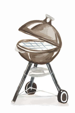 Watercolor bbq grill. Outdoors bbq grill machine. Isolated grill on white background.