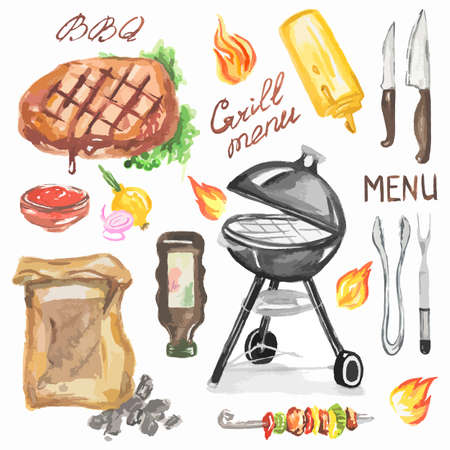 sauces: Watercolor bbq grill party set. Steak, grill machine, kebab, vegetables and sauces. Happy outdoor activity.