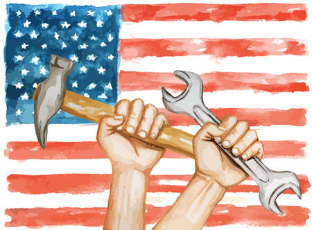 Watercolor labor day concept. Wrench and hammer against USA flag. Liberty and freedom.