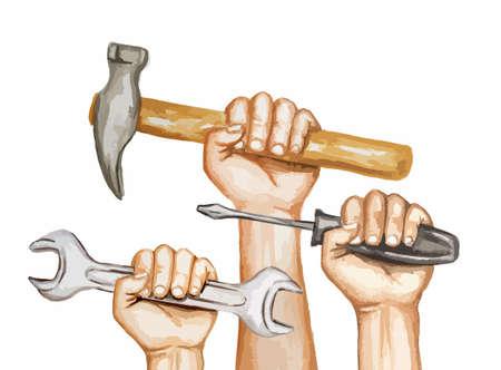Aquarellhände mit Werkzeugen auf weißem Hintergrund. Glückliche Arbeitstagesaquarellillustration. Illustration