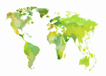 Watercolor green world map. Beautiful map with lands and islands. Watercolor illustration for decoration. Illustration