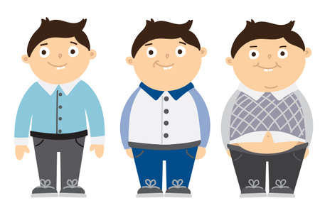 fat kid: From thin to fat kid. Children obesity. Funny smiling cartoon boys on white background. Boy getting fat, gaining weight.
