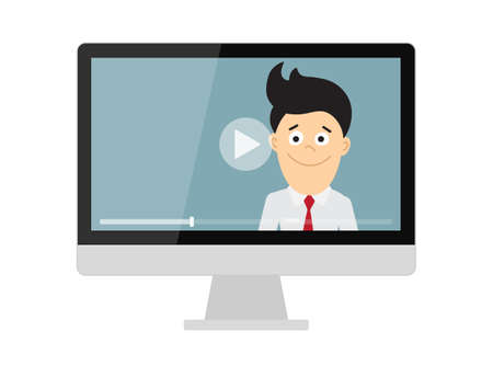 colleague: Online learning concept. Isolated computer screen with teacher, businessman or colleague. Webinar or online training concept.