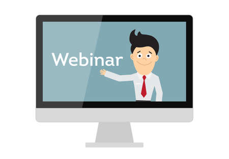 Online webinar concept. Computer monitor with teacher, tutor, businessman. Online learning or e-learning.