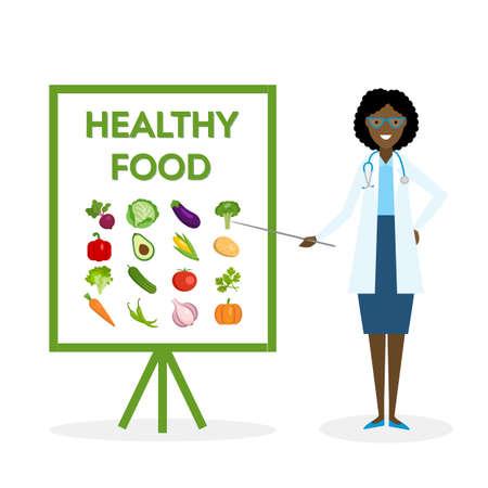 Docteur avec la bannière de la nourriture saine. Nutritionniste montre comment manger des aliments sains et frais. Les légumes verts pour le corps.