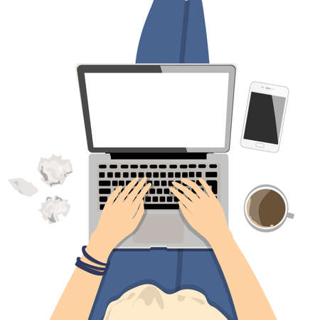 girl laptop: Girl with laptop. Seen from above, plan view. Concept of home office, surfing the Internet, writing and freelance. Illustration
