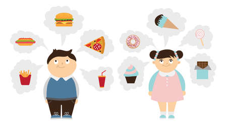 dreaming girl: Chubby kids dreaming set. Fat smiling boy and girl dream of fast food, unhealthy sweets. Children obesity. Illustration