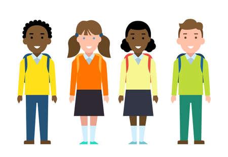 schoolchildren: Smiling funny schoolchildren set. Kids with backpacks and bags in uniform. Happy children are ready for school. New school year.