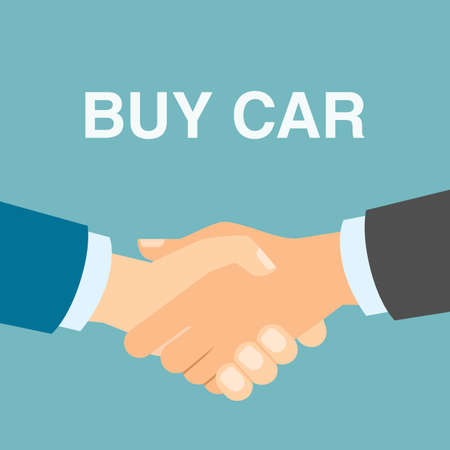 Comprare auto stretta di mano. Gli uomini si stringono la mano in accordo circa l'acquisto dell'automobile. Agenzia vendita di automobili.