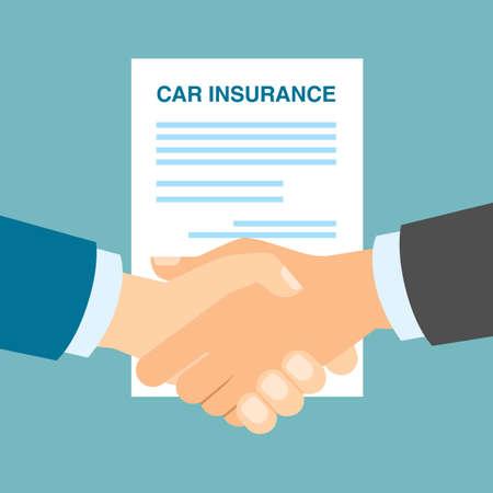 poignée de main d'assurance de voiture. services d'assurance, la protection et la garantie de sécurité. Vecteurs
