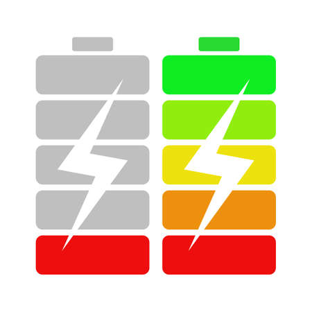 lightening: High and low batteries. Batteries with bolt or lightening. Concept of charging, battery accumulator. Device indicator of battery source.