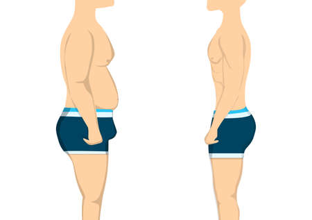 changing: From fat to slim and healthy body. Before and after concept. Changing lifestyle and body shape.