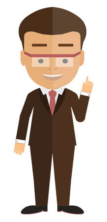 colleague: Isolated cartoon businessman. White background. Consultant, colleague, jffice worker or boss and more. Illustration