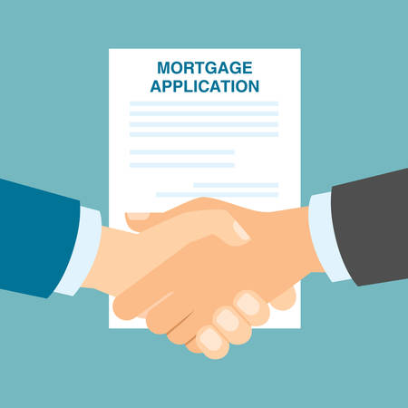 lenders: Mortgage application handshake. Application approved. Successful contract for property. Illustration