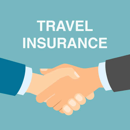 family policy: Travel insurance handshake. Including, medical, health care and family protection. Agreement in travel agency.