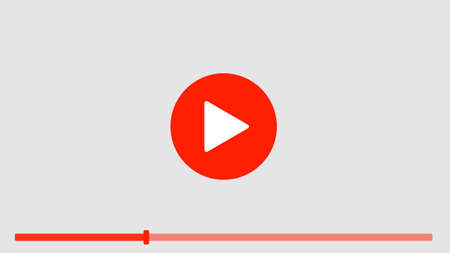playback: Isolated computer screen with play button on white background. Concept of video, audio playback, multimedia, stream.