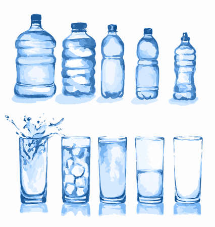 types of glasses: Watercolor glasses set. Glasses of water. Empty glass, half full, full, with ice cubes and splash. Different types of water bottles.