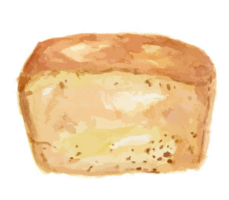white bread: Watercolor white bread. Pastry art for decoration, cafe or restaurant menu. Isolated bread on white background. Illustration