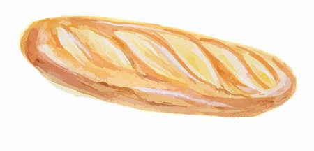 Izolowane akwarela bagietki. Ciasto sztuki do dekoracji, kawiarni lub restauracji menu. Izolowane chleb na białym tle.