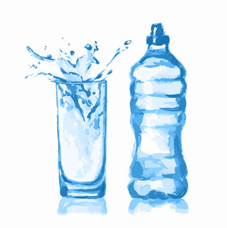 soda splash: Watercolor water bottle and glass. Fresh healthy beverage. White background. Illustration