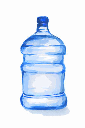 plastic bottles: Watercolor plastic bottles. Blue bottle with water standing on white background. Fresh healthy beverage.