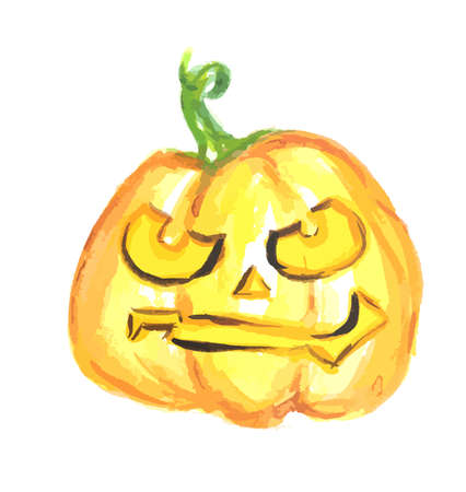 Watercolor scary pumpkin. Spooky face for Halloween. October festival. Illustration