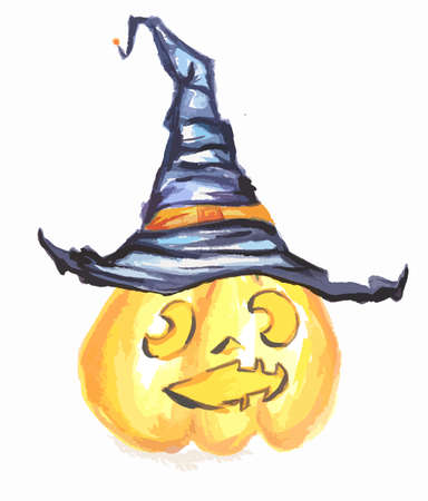 Watercolor pumpkin with witch hat. Spooky pumpkin with scary face and hat for Halloween. October festival. Illustration