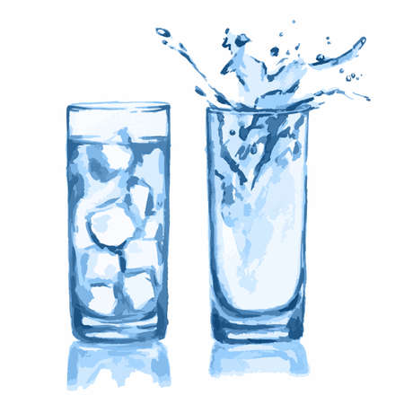 refinement: Watercolor glasses set. Glasses of water with ice cubes and splash. Fresh healthy beverage.