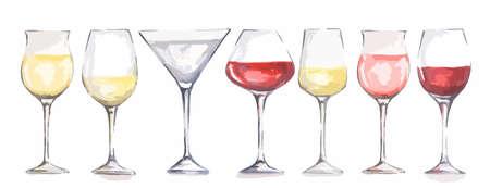 copas de vino de la acuarela fijadas. Vidrios hermosos para la decoración de menú en restaurante o cafetería. Bebida alcohólica.