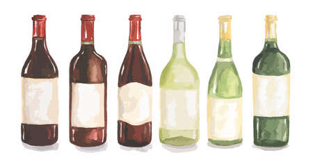 Watercolor wine bottles set. Beautiful bottles for decoration menu in restaurant or cafe. Alcoholic beverage.