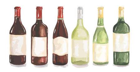 Zestaw butelek wina akwarela. Piękne butelki do menu dekoracji w restauracji lub kawiarni. Napój alkoholowy. Ilustracje wektorowe