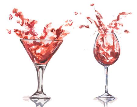 alcoholic beverage: Watercolor wine splash set. Splash in wine glasses. Beautiful glasses for decoration menu in restaurant or cafe. Alcoholic beverage.