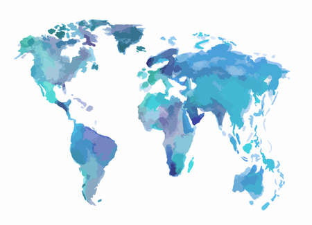 lands: Watercolor blue world map. Beautiful map with lands and islands. Watercolor illustration for decoration.