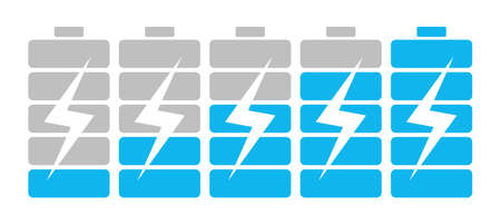 lightening: From low to high batteries. Batteries with bolt or lightening. Concept of charging, battery accumulator. Device indicator of battery source. Illustration