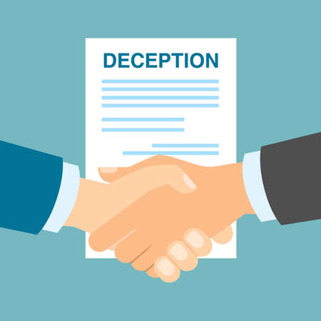 hypocritical: Business deception handshake. Manipulative deception in business partnership. Cheating in business cooperation. Illustration