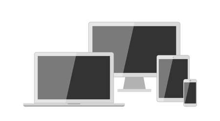 display size: Different types of screens. Isolated screens. Computer and laptop, tablet and smartphone screens.