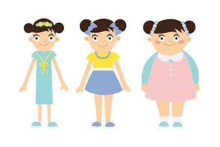 Od cienkiego do grubego dzieciaka. Dzieci otyłość i anoreksja. Funny uśmiechnięte dziewczyny z kreskówek na białym tle. Dziewczyna zaczyna tłuszczu, przybierając na wadze, coraz cienką, tracąc ciężar. Ilustracje wektorowe