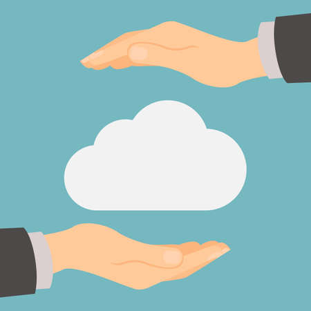 private data: Cloud storage protection. Data privacy and computer safety. Hands safe the cloud. Illustration