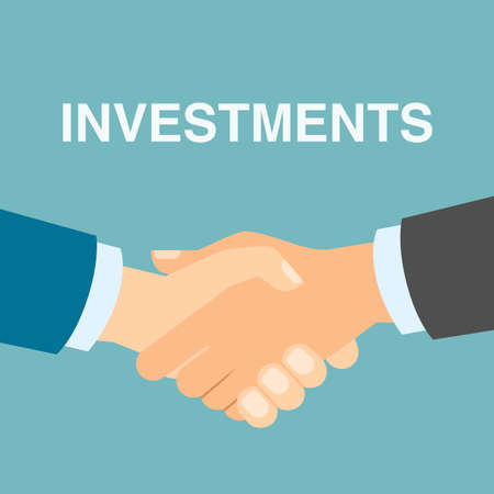 hands in: Good investment handshake. Businessmen shaking hands in agreement about future business plan and capital. Successful business strategy. Illustration