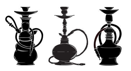 sweet grass: Three hookas silhouettes. Isolated black hookas on white background. Decoration for bar. Illustration