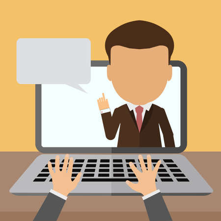 video call: Business webinar consultant. Concept of distant online learning, conference and consultation. Office working.